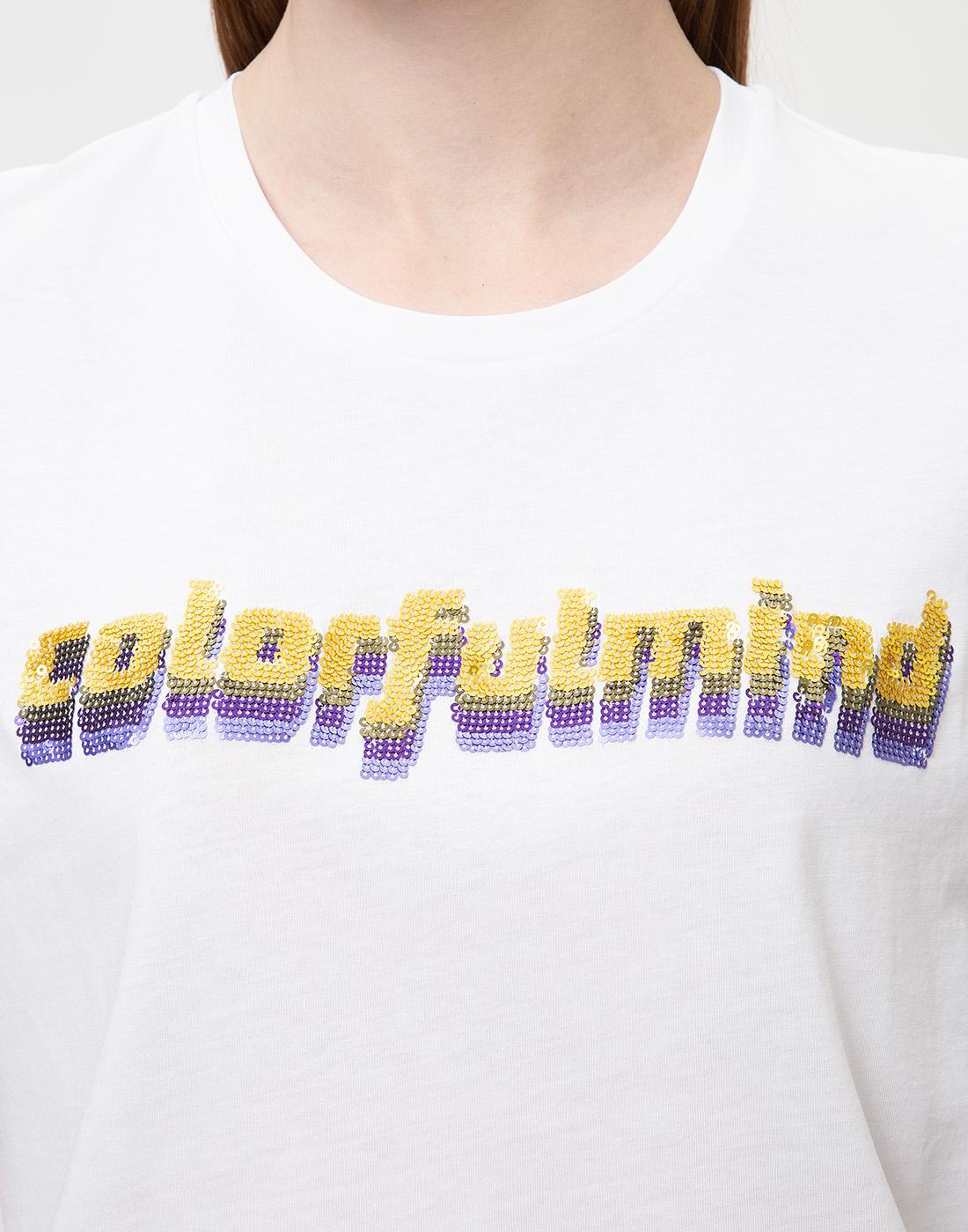 Женская белая футболка с вышивкой пайетками  Dorothee Schumacher S623103/026-6
