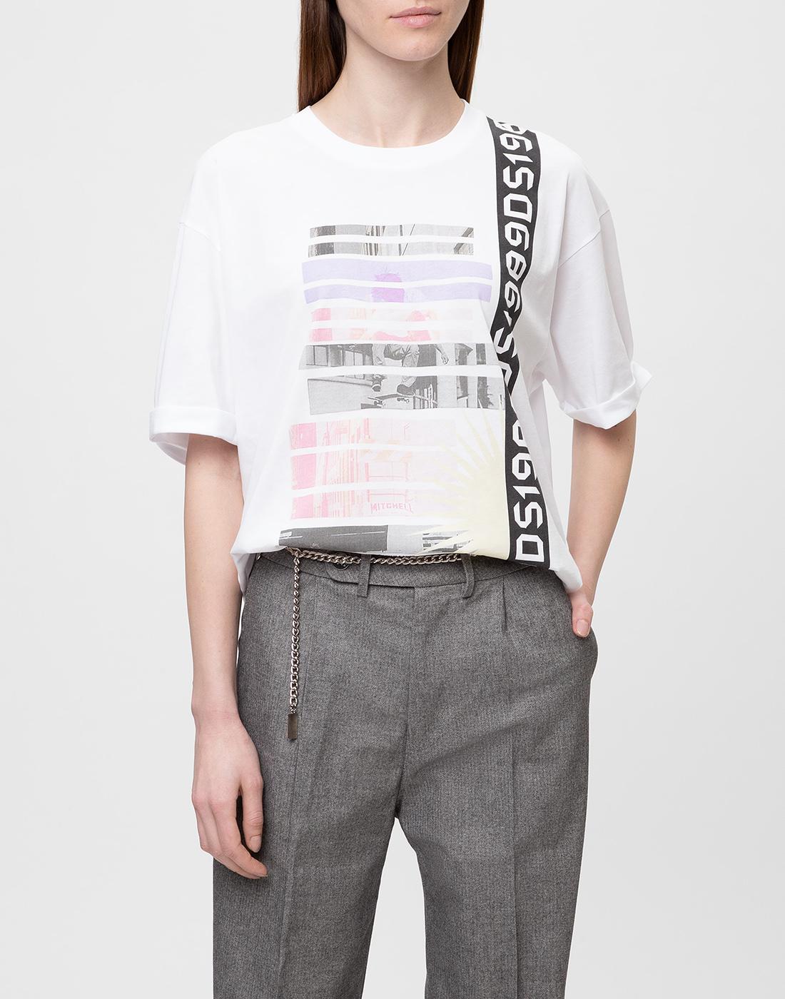 Женская белая футболка с принтом Dorothee Schumacher S623501/100-2
