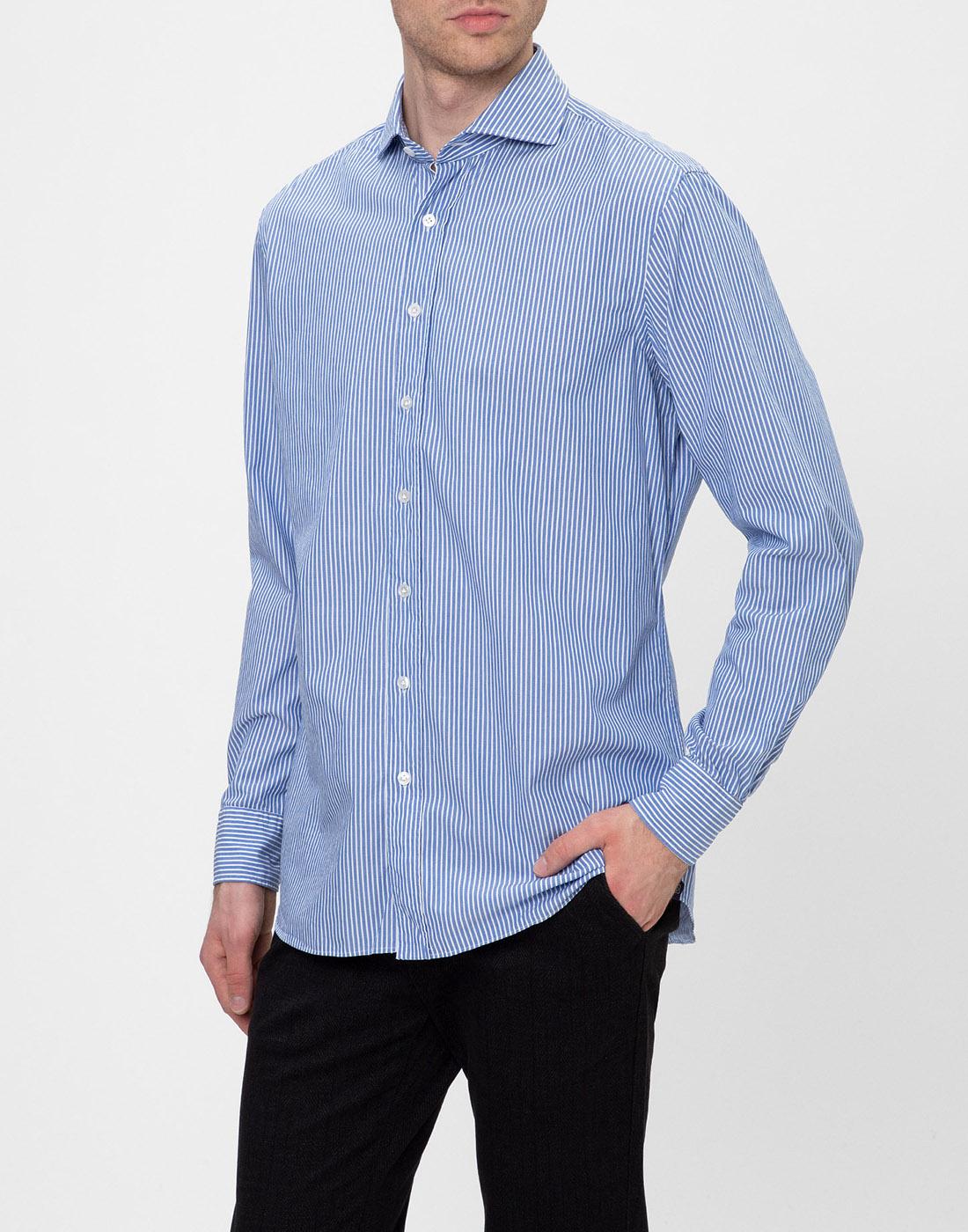 Мужская голубая рубашка в полоску