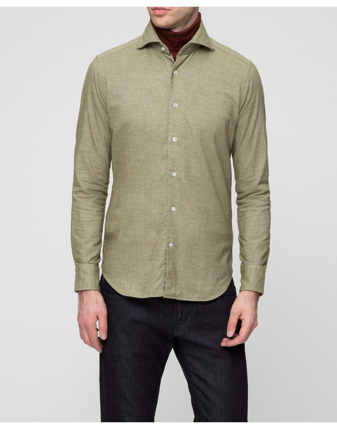 Мужская рубашка оливкового цвета Bagutta S08408.060-2