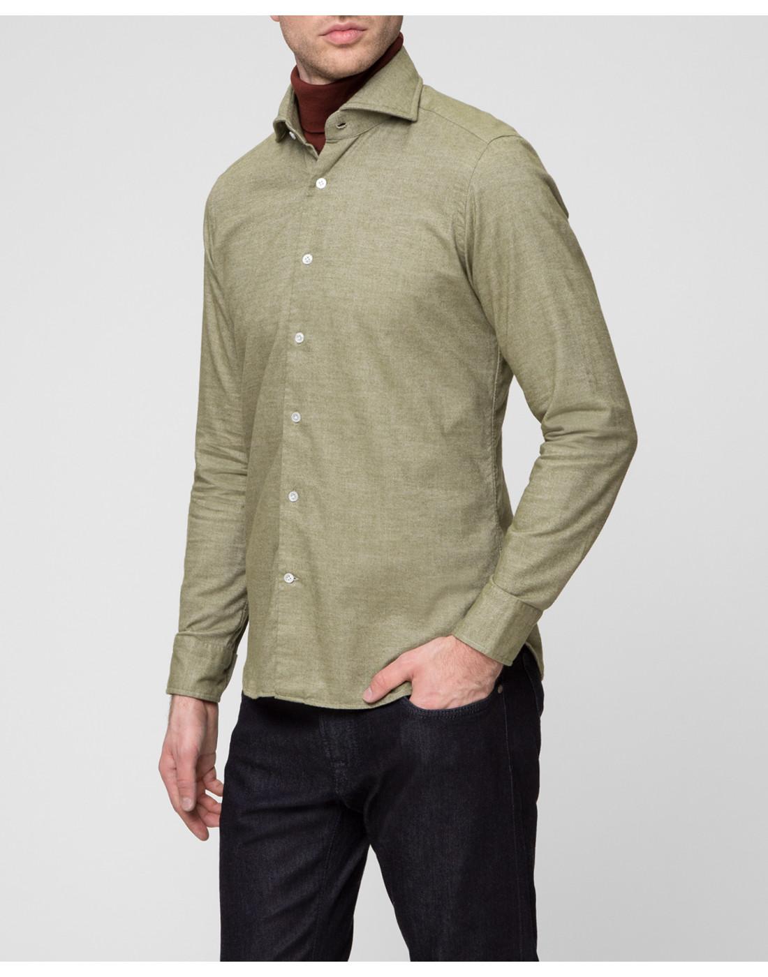 Мужская рубашка оливкового цвета Bagutta S08408.060-3