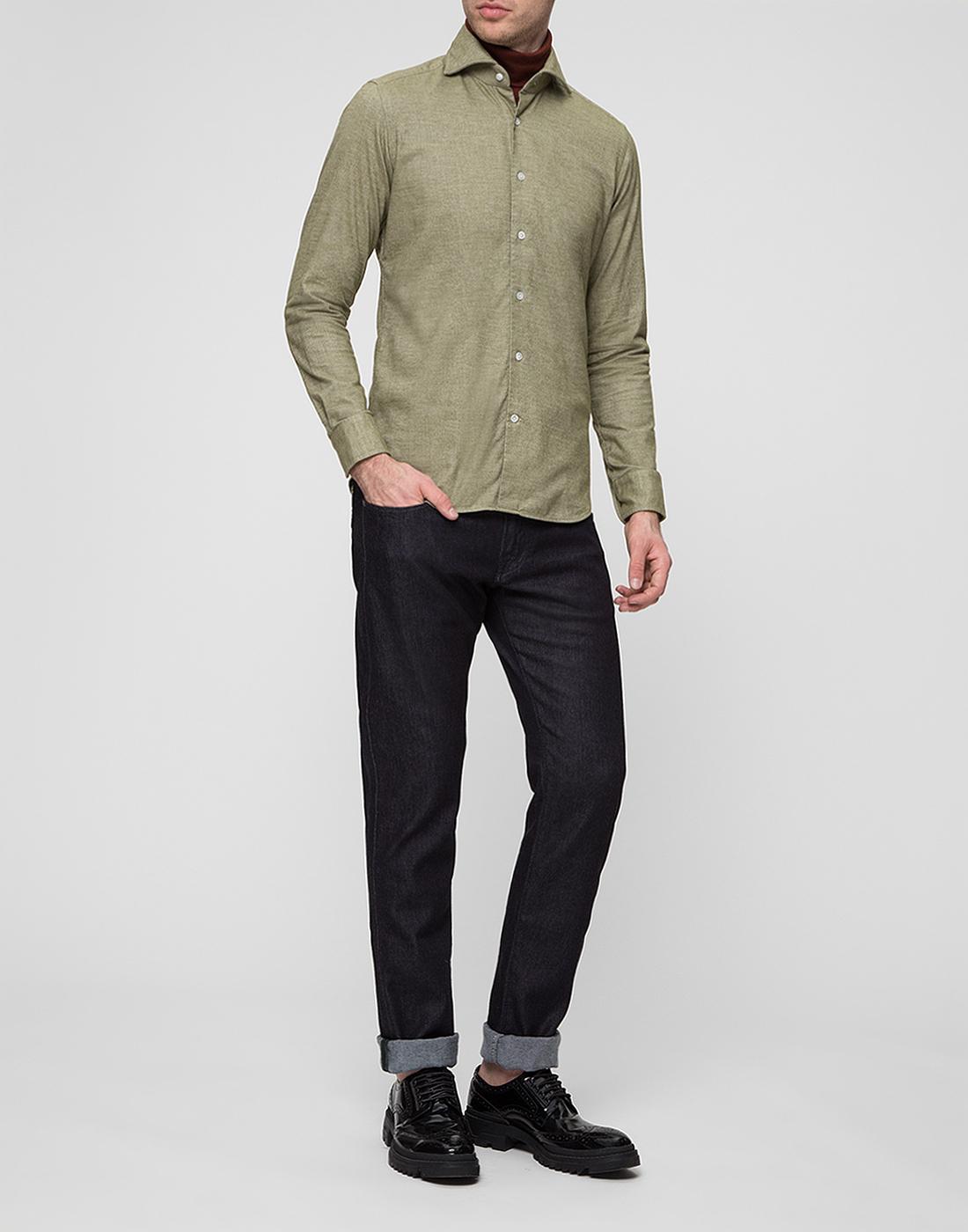 Мужская рубашка оливкового цвета Bagutta S08408.060-5