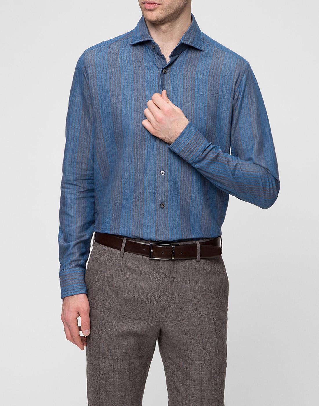 Мужская синяя рубашка Bagutta S09555.250-2