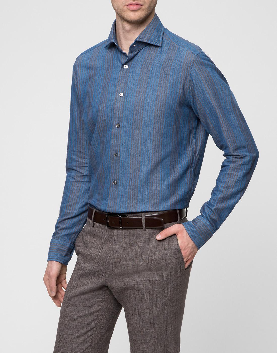 Мужская синяя рубашка Bagutta S09555.250-3