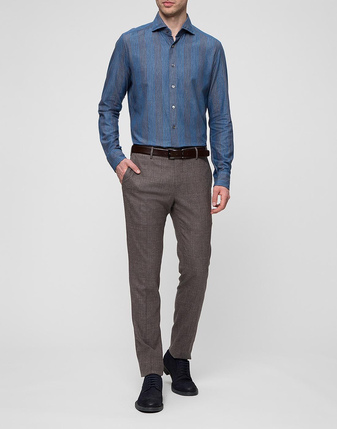 Мужская синяя рубашка Bagutta S09555.250-5