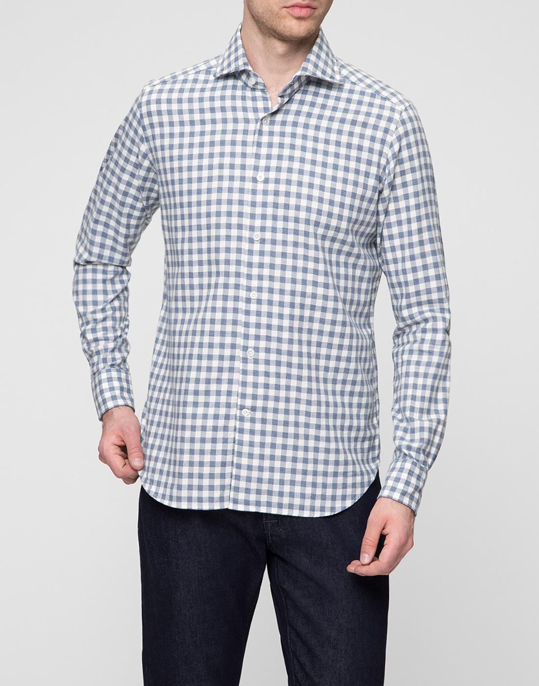 Мужская белая рубашка в клетку Bagutta S09558.250-2