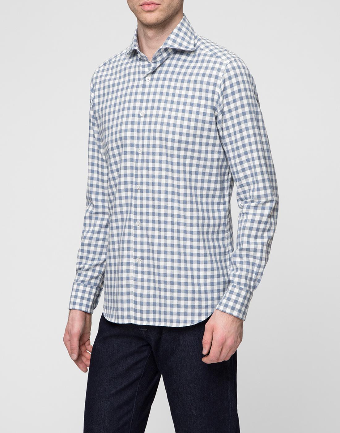 Мужская белая рубашка в клетку Bagutta S09558.250-3