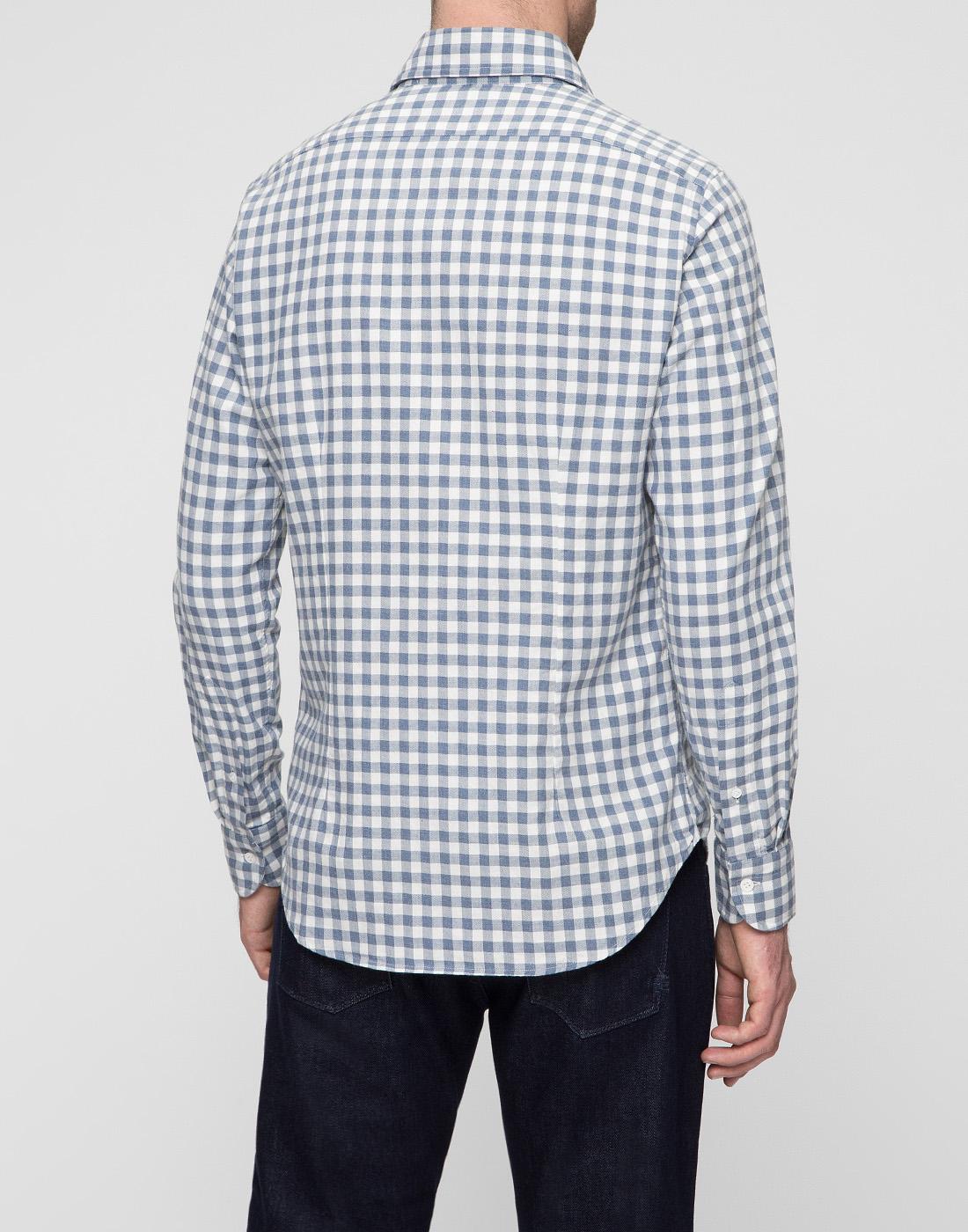 Мужская белая рубашка в клетку Bagutta S09558.250-4
