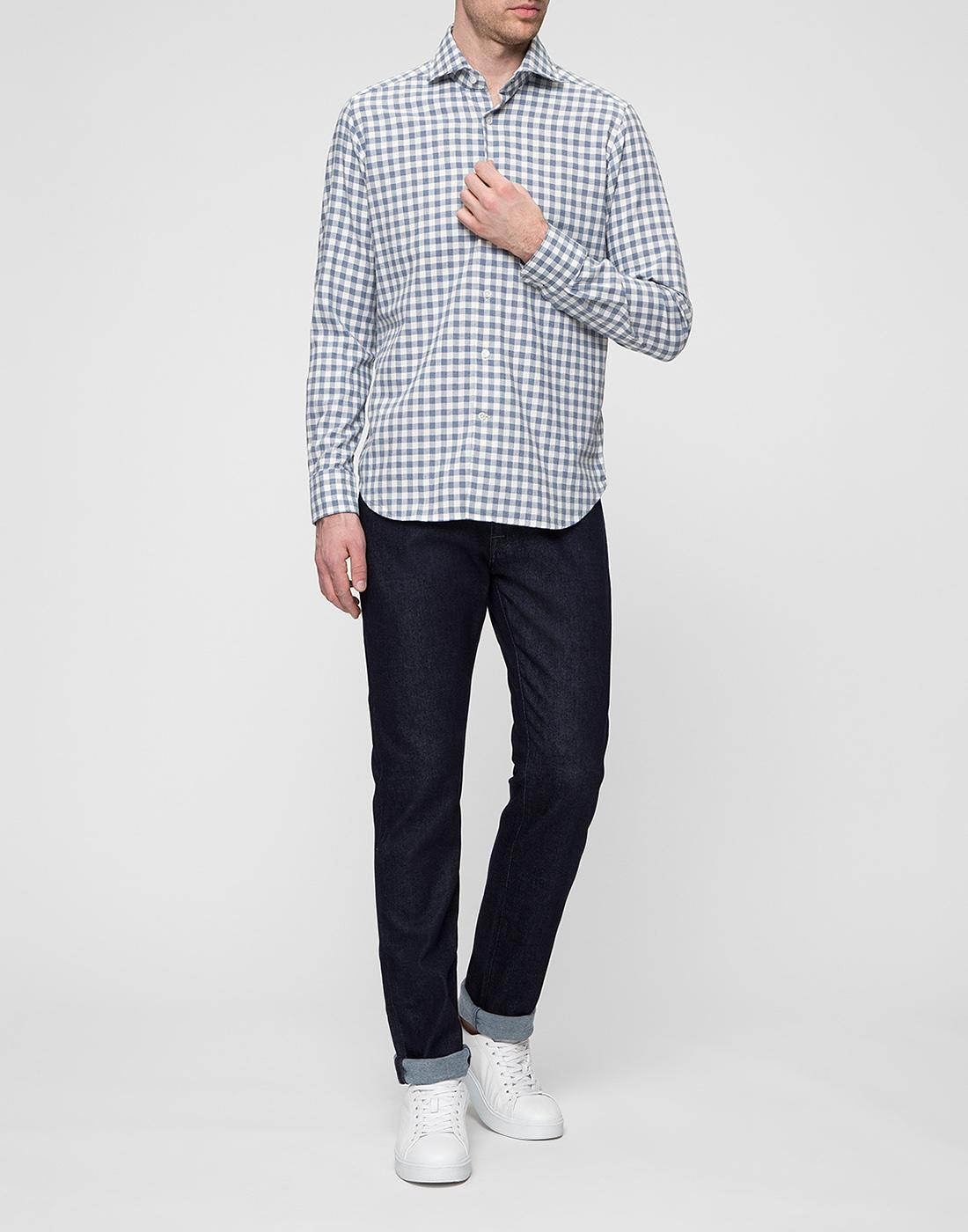 Мужская белая рубашка в клетку Bagutta S09558.250-5