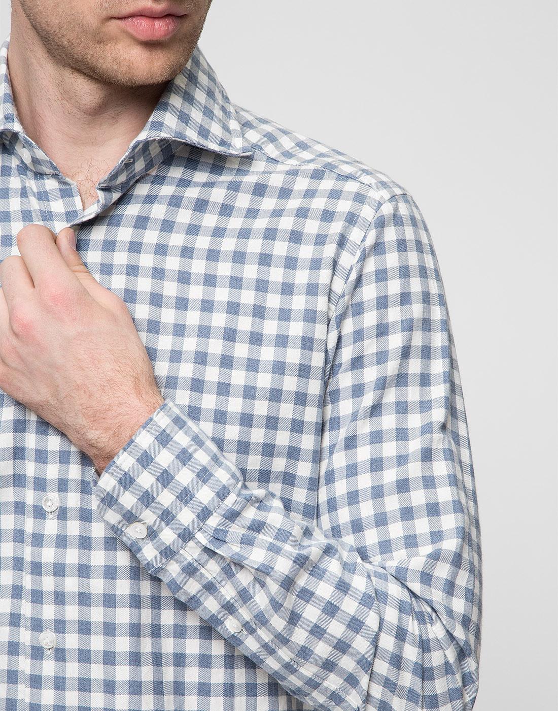 Мужская белая рубашка в клетку Bagutta S09558.250-6