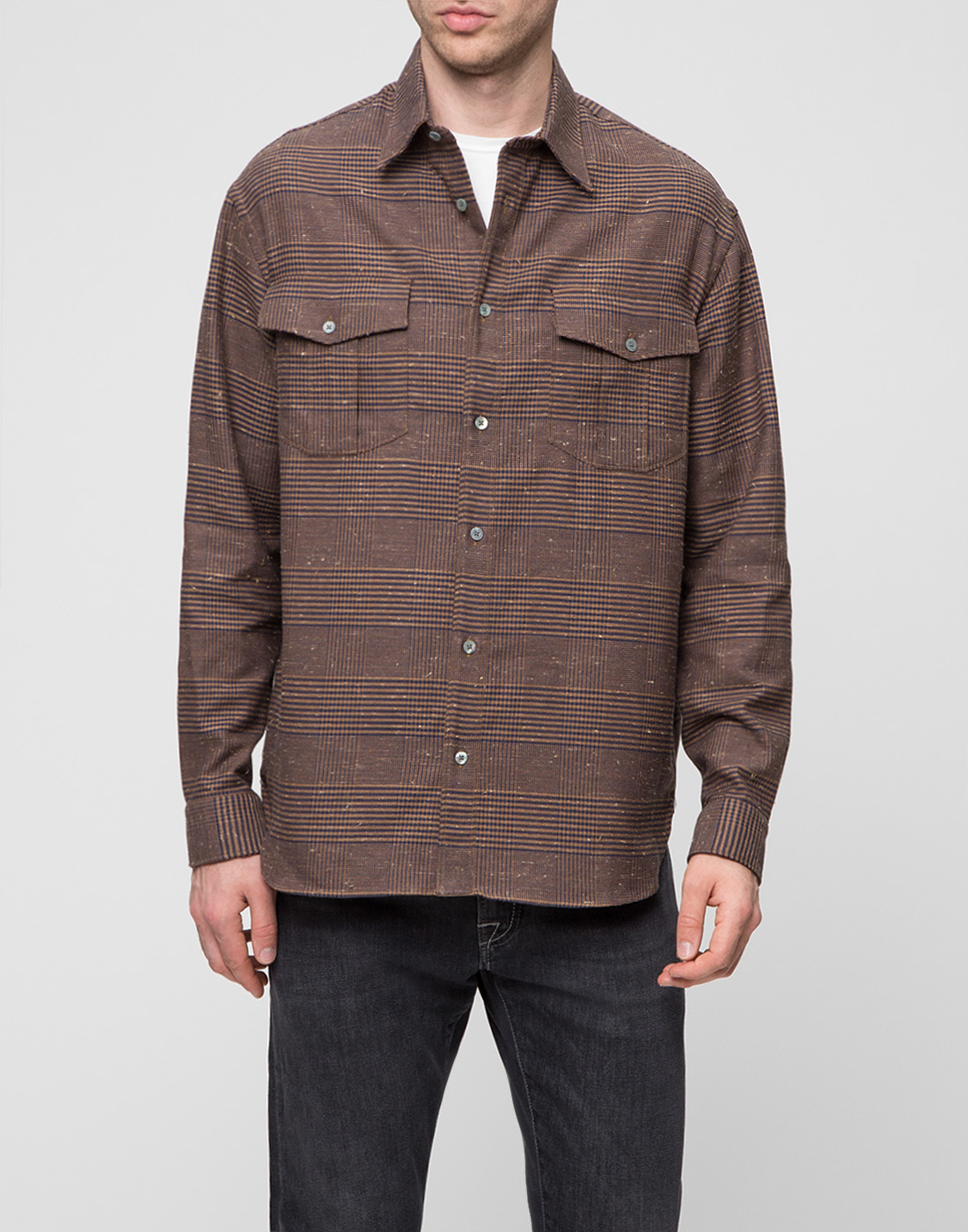 Мужская коричневая рубашка Bagutta S09563.470-2