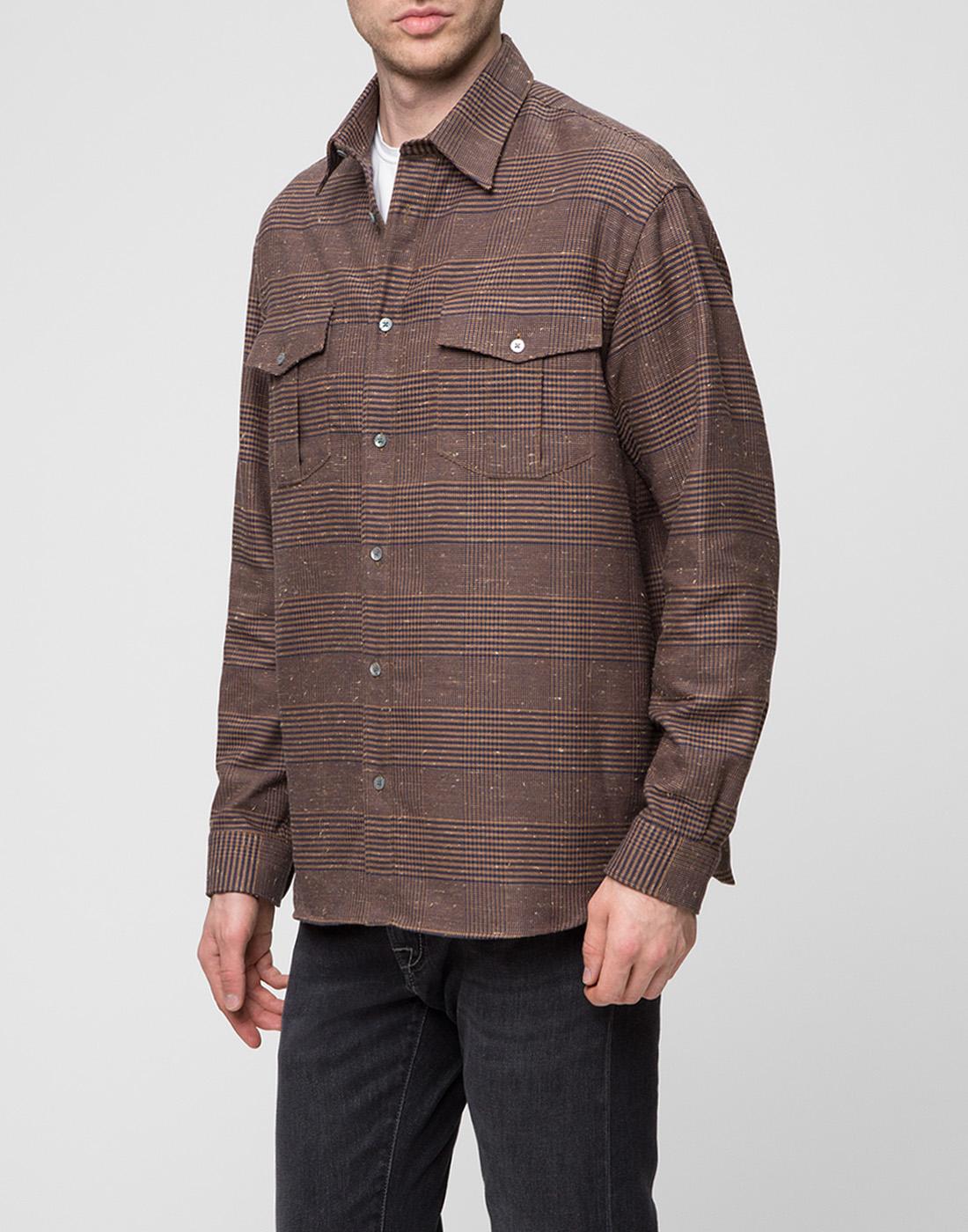 Мужская коричневая рубашка Bagutta S09563.470-3