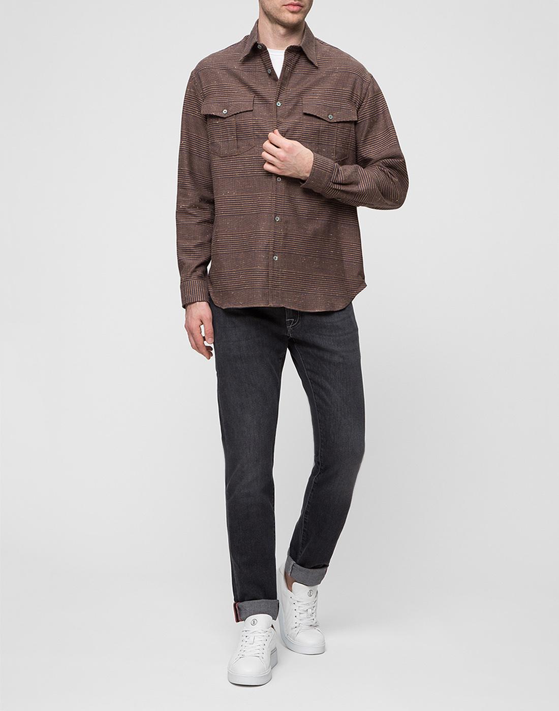 Мужская коричневая рубашка Bagutta S09563.470-5