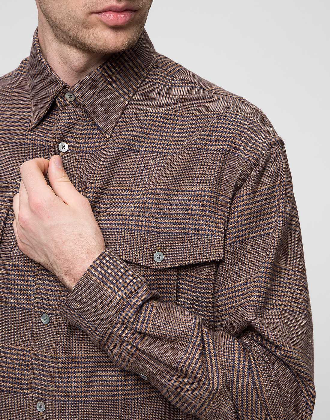Мужская коричневая рубашка Bagutta S09563.470-6