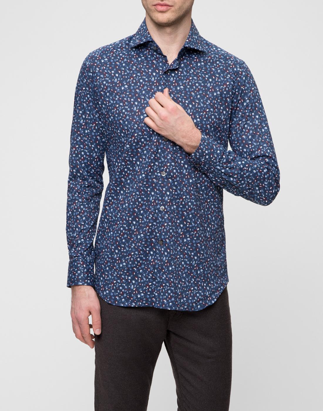 Мужская синяя рубашка Bagutta S09597.650-2