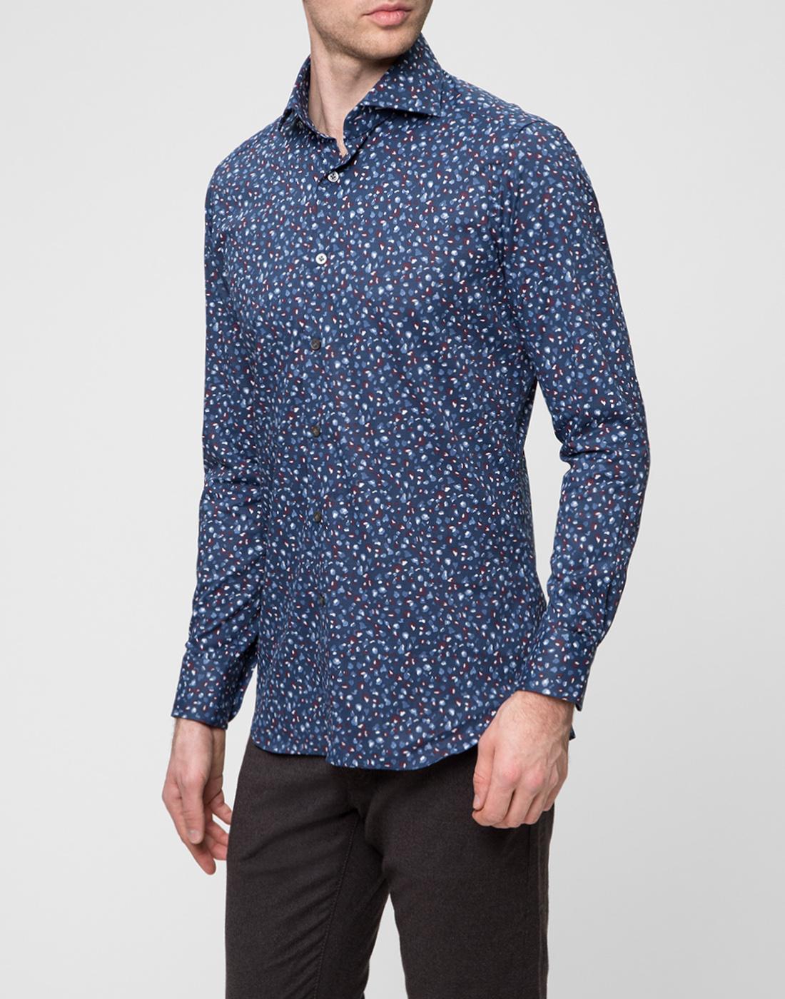 Мужская синяя рубашка Bagutta S09597.650-3