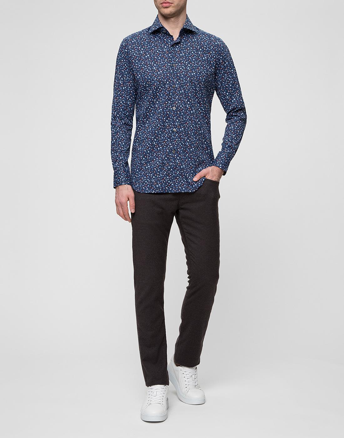 Мужская синяя рубашка Bagutta S09597.650-5