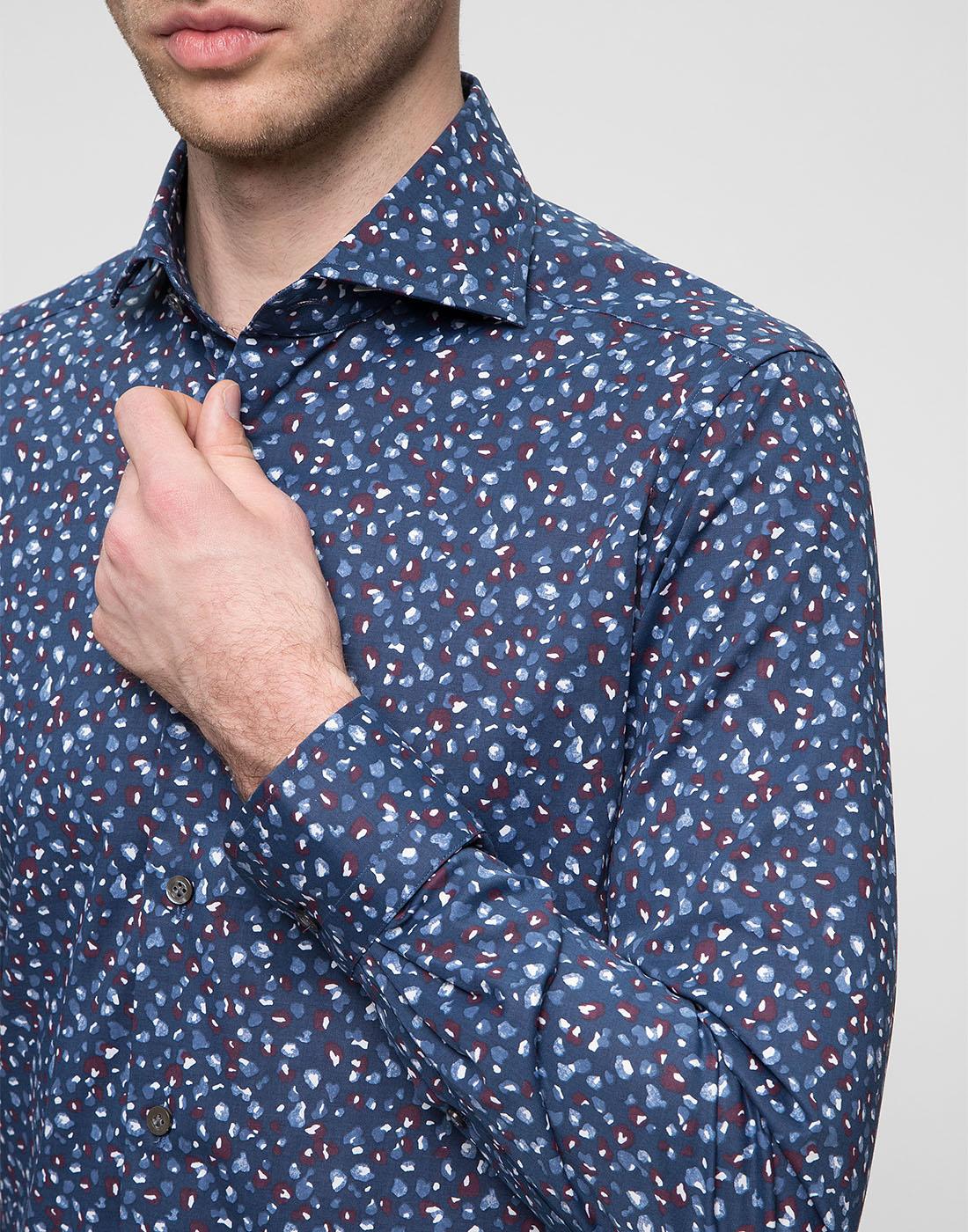 Мужская синяя рубашка Bagutta S09597.650-6
