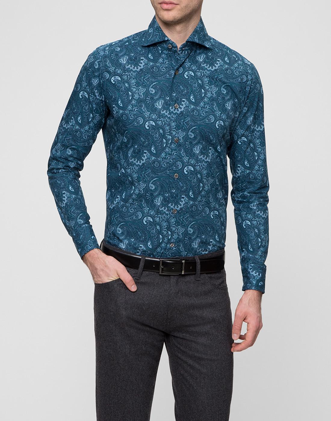 Мужская рубашка бирюзового цвета Bagutta S09715.650-2