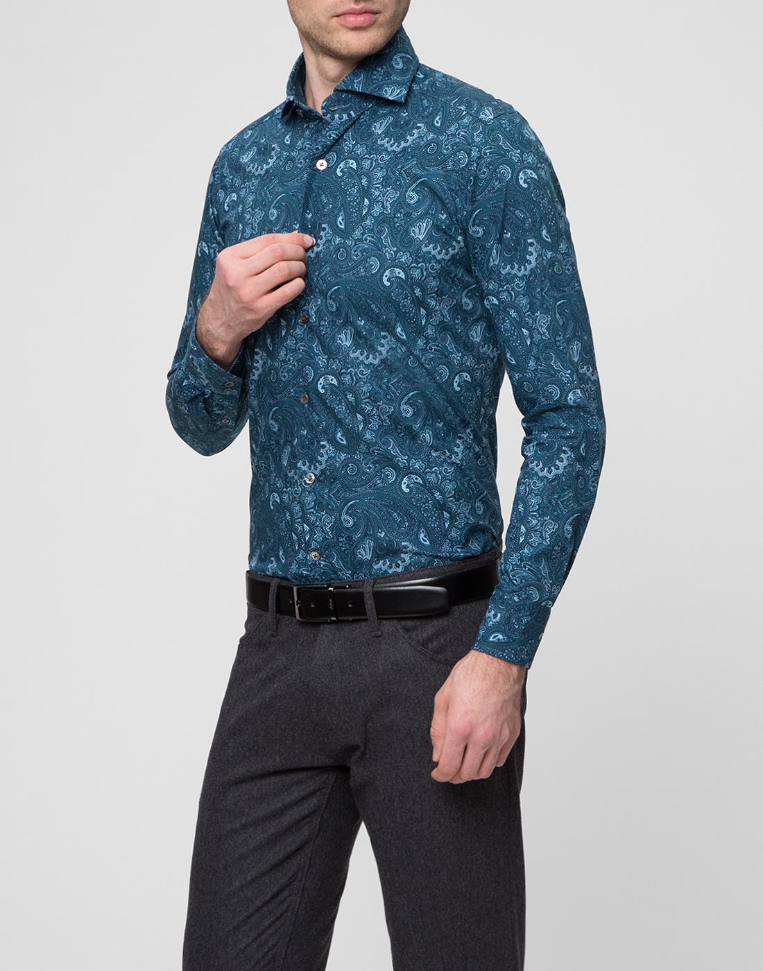 Мужская рубашка бирюзового цвета Bagutta S09715.650-3
