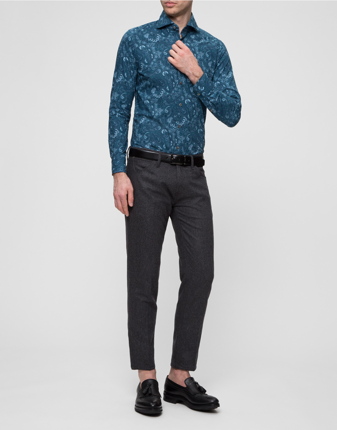 Мужская рубашка бирюзового цвета Bagutta S09715.650-5
